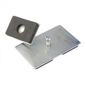 Rektangulær gummimagnet med plade