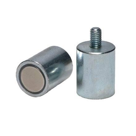 Neodym stangmagneter i stålkappe / udvendigt gevind